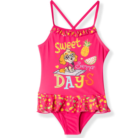 Paw Patrol Swimming Costume for Girls 2-6 years - Fuchsia , Fruits