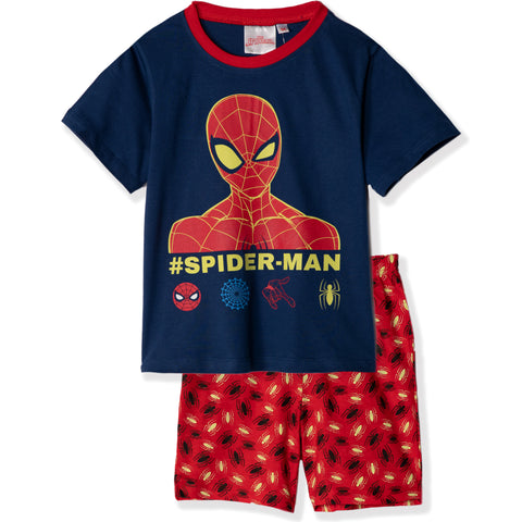Spiderman Short Sleeve Cotton Pyjamas Set Pjs GLOW IN THE DARK 2-8 yrs - Blue