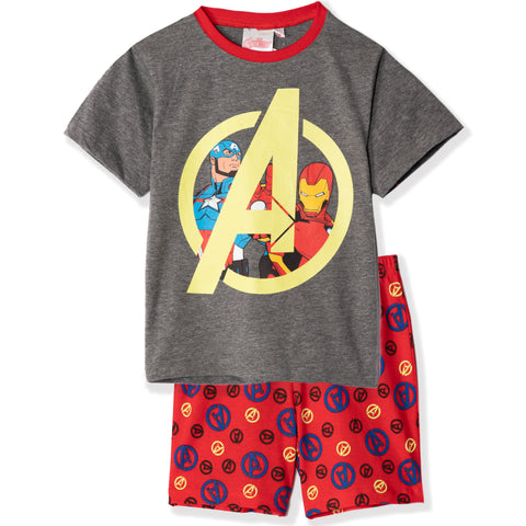 The Avengers Short Sleeve Cotton Pyjamas Set Pjs GLOW IN THE DARK 3-10 yrs - Grey