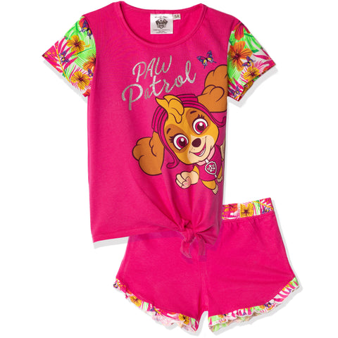 Paw Patrol Short Sleeve 100% Cotton Pyjamas Set 2-6 years - Fuchsia