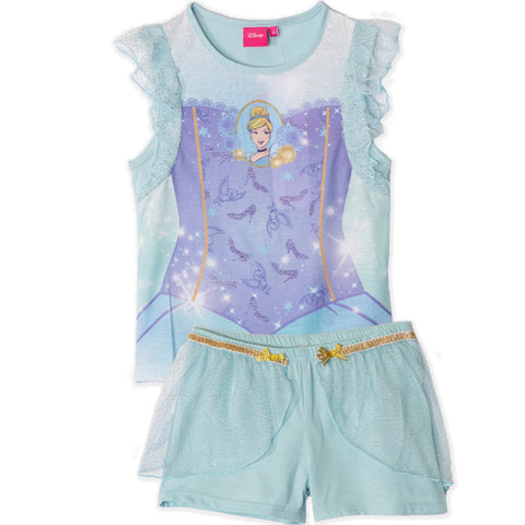 Disney Princess Girls Short Sleeve Pyjamas Set, Pjs 2-6 years - Cinderella, Light Blue