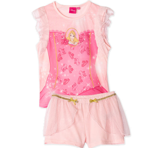 Disney Princess Girls Short Sleeve Pyjamas Set, Pjs 2-6 years - Aurora, Pink