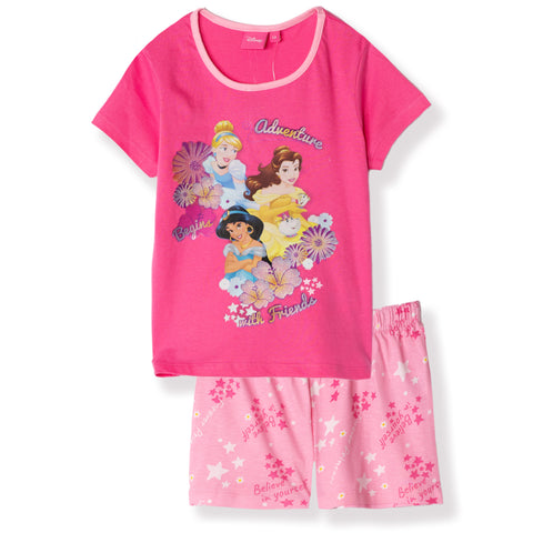 Disney Princess Girls Short Sleeve Cotton Pyjamas Set, Pjs 2-6 Years - Fuchsia
