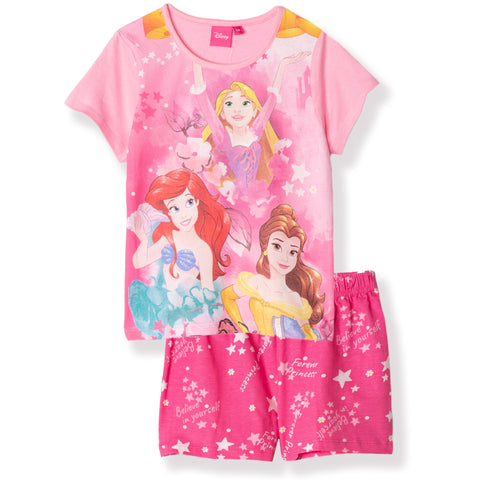Disney Princess Girls Short Sleeve Cotton Pyjamas Set, Pjs 2-6 Years - Pink