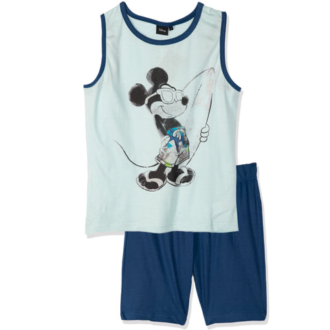 Disney Mickey Mouse Men's Pyjamas, Vest and Shorts Set S- XL - Blue