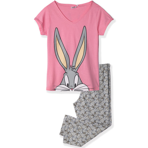 Looney Tunes Women's Short Sleeve T-Shirt and Trousers Pyjamas Set S, M, L, XL - Pink