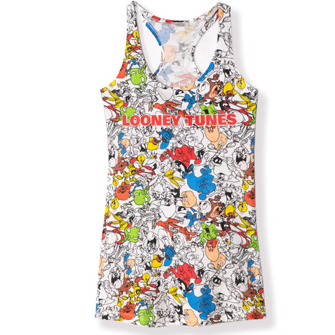 Looney Tunes Women's Sleeveless Sleeping T-Shirt, Nightdress S, M, L, XL - White