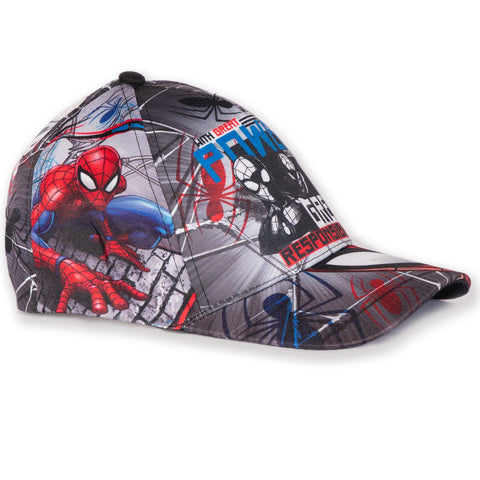 Spiderman Marvel Boys Sun Hat / Baseball Cap with All Over Print 2-8 years - Black