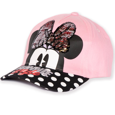 Disney Minnie Mouse Girls Baseball Cap, Sun Hat with Sequins 2-8 years - Pink
