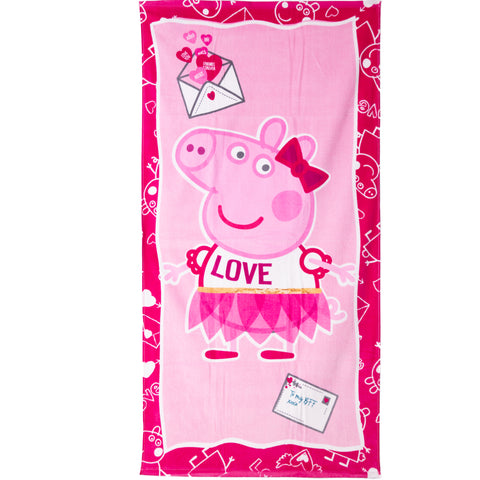 Peppa Pig Girls Cotton rich Beach Bath Towel 70 X 140 cm - Dark Pink