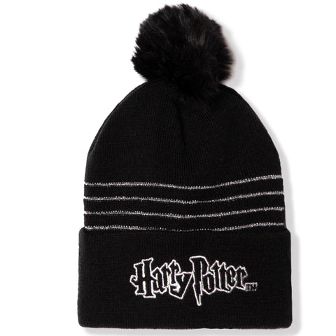 Harry Potter girls boys winter beanie hat 2-8 years - Black with Silver Embroidery