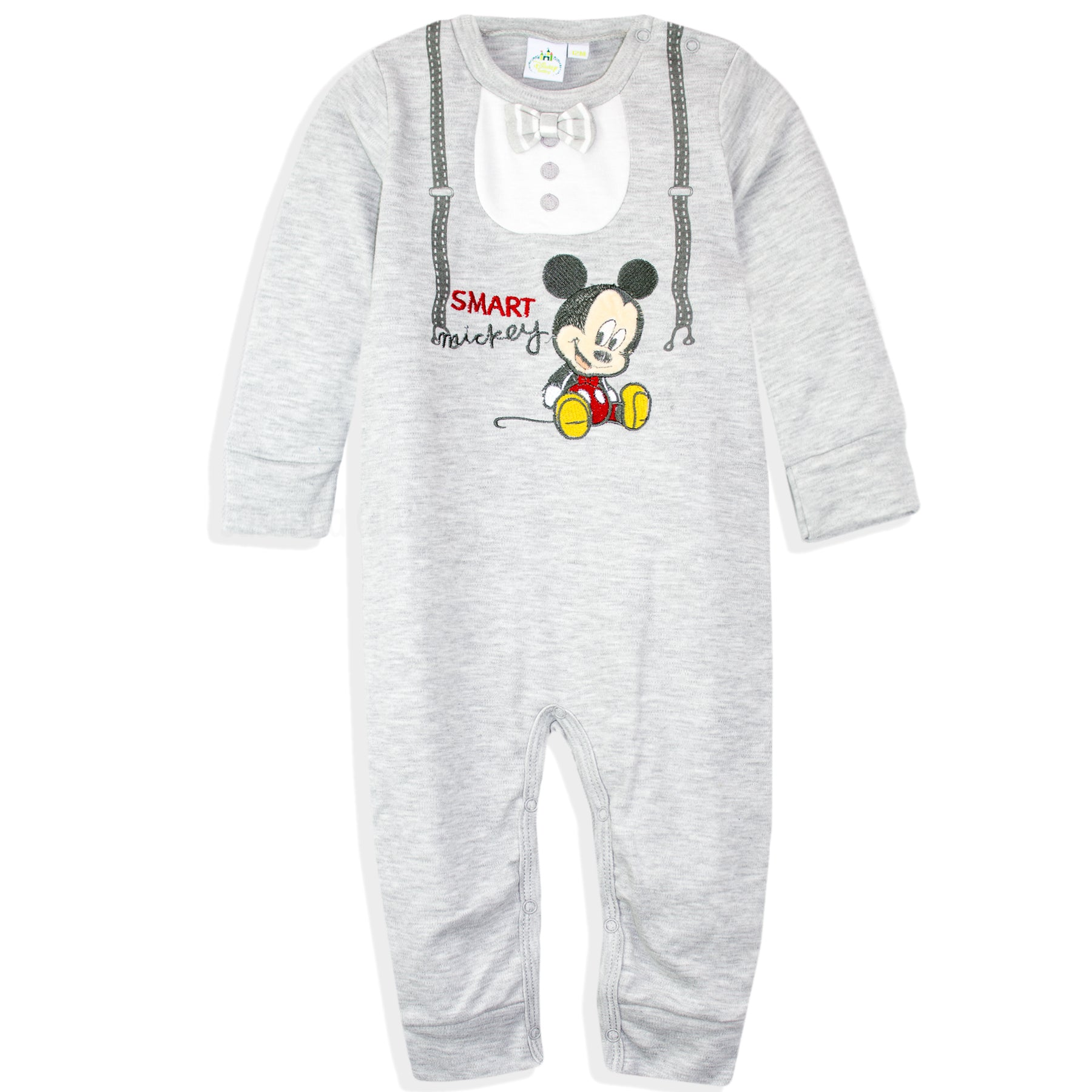 Disney Mickey Mouse Baby Boys 100% Cotton Romper Suit, Onesie 0-24 Months GIFT BOX