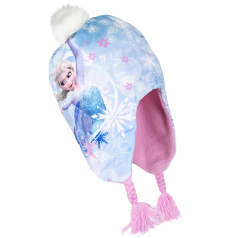 Disney Frozen Polar Fleece, Winter Hat Trapper / Peruvian Style 2-8 Years - Blue