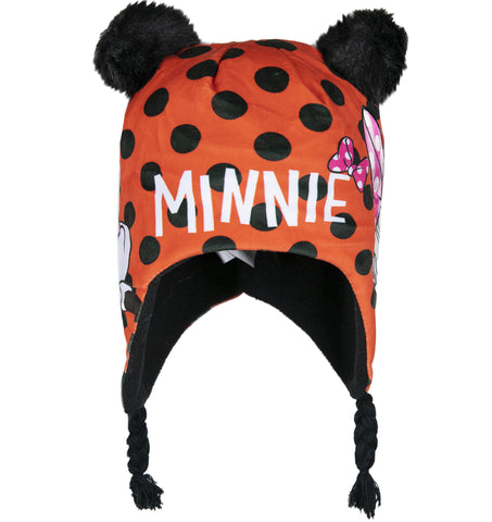 Disney Minnie Mouse Polar Fleece, Winter Hat Trapper / Peruvian Style 2-8 Years - Red, Spotted
