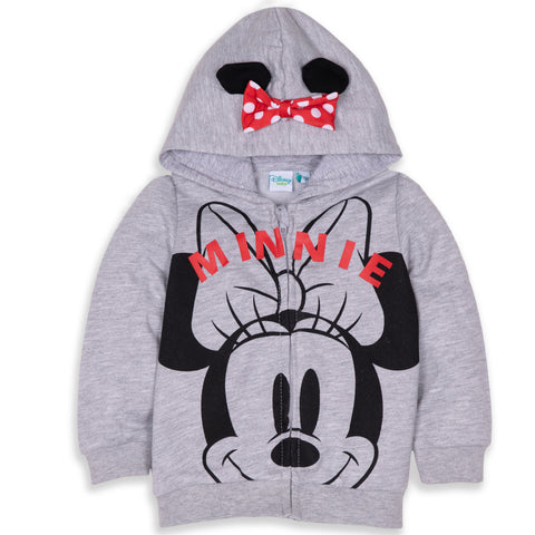 Disney Minnie Mouse Baby Girl's Warm Fleece Hoodie with Large Picture  - Grey