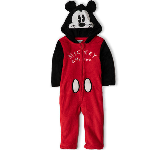 Disney Baby Mickey Mouse Boys Jumpsuit, Warm Coral Fleece Onesie 9-36 Months
