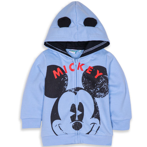 Disney Mickey Mouse Baby Boy's Warm Fleece Hoodie with Large Picture - Blue