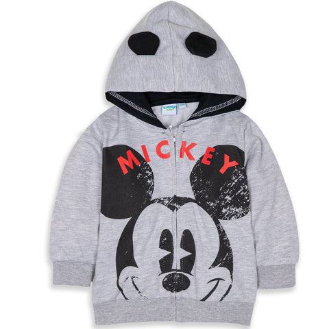 Disney Mickey Mouse Baby Boy's Warm Fleece Hoodie with Large Picture - Grey