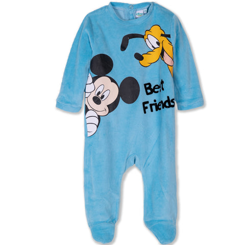 Disney Mickey Mouse & Friends Baby Boys Gilrls Velvet All Occasion Onesie  - Blue