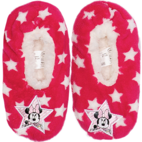Disney Minnie Mouse Girl's Slippers Warm Cosy Coral Fleece & Sherpa - Dark Pink