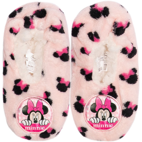Disney Minnie Mouse Girl's Slippers Warm Cosy Coral Fleece & Sherpa - Light Pink