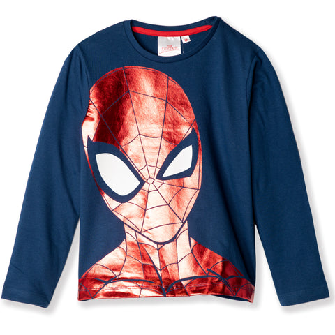 Spiderman Marvel Boys Long Sleeve Cotton Top with Shiny Picture 2-8 years - Navy
