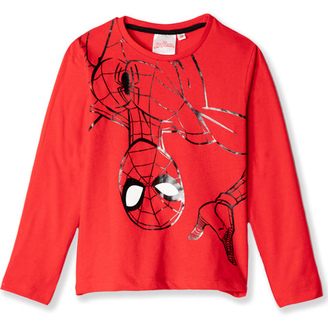 Spiderman Marvel Boys Long Sleeve Cotton Top with Shiny Picture 2-8 years - Red
