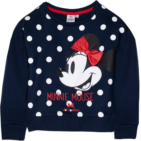 Disney Minnie Mouse Girls Jumper, 100% Cotton with Classic Picture and Bow 2-8 Years - Navy