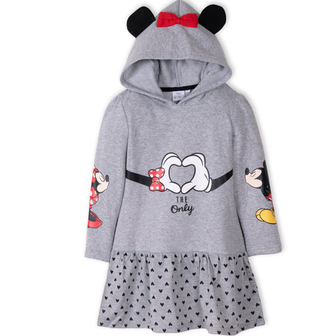 Disney Minnie & Mickey Mouse Girls Warm Hooded Dress / Tunic 2-8 Years - Grey