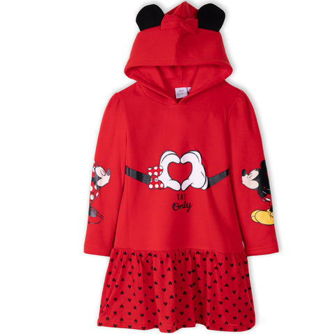 Disney Minnie & Mickey Mouse Girls Warm Hooded Dress / Tunic 2-8 Years - Red