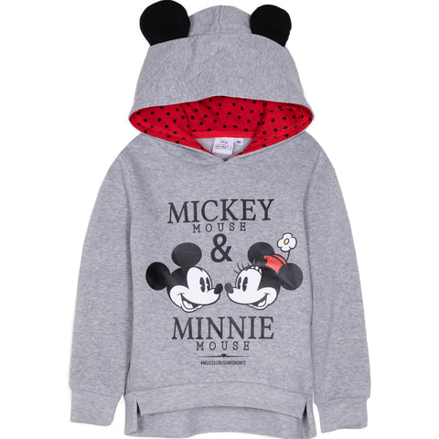 Disney Minnie Mouse Girls Hoodie, Hooded Jumper with Classic Picture 2-8 Years - Grey