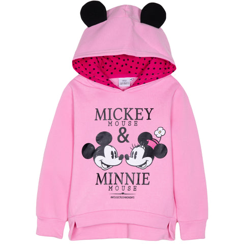Disney Minnie Mouse Girls Hoodie, Hooded Jumper with Classic Picture 2-8 Years - Pink