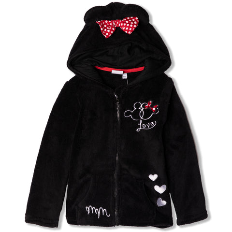 Disney Minnie Mouse Hoodie, Jacket Cosy Coral Fleece - Girls 2-8 Years - Black