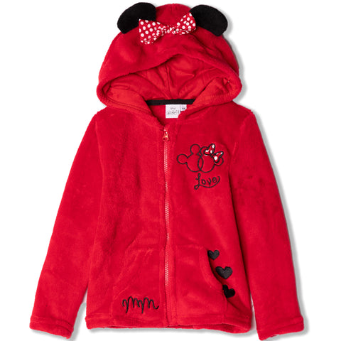 Disney Minnie Mouse Hoodie, Jacket Cosy Coral Fleece - Girls 2-8 Years - Red