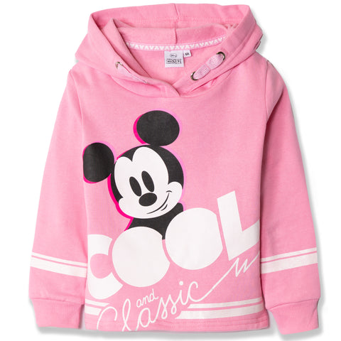 Disney Mickey Mouse Girls Cropped Hoodie, Sweatshirt Classic Picture 2-8 Years - Pink