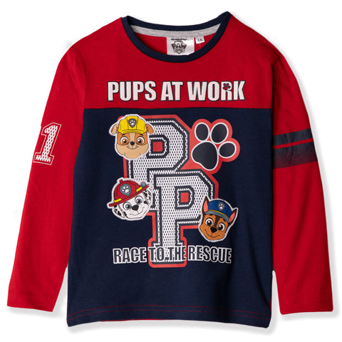 Paw Patrol Characters Long Sleeve Cotton Top, Boys 2-6 years - Red