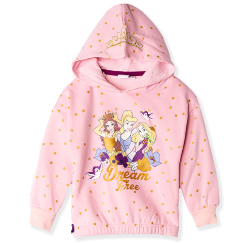 Disney Princess Characters Hoodie with Golden Millard Dots girls 2-6 Years - Pink