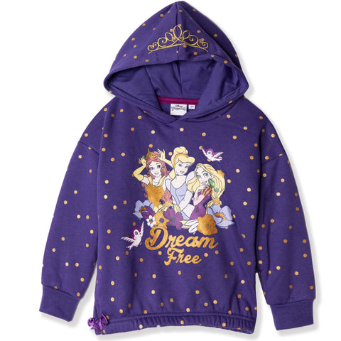 Disney Princess Characters Hoodie with Golden Millard Dots girls 2-6 Years - Purple