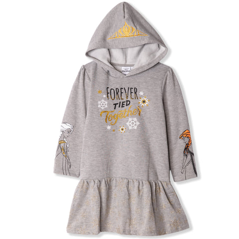 Disney Frozen Warm Hooded Tunic / Dress with Glitter 2-9 Years - Grey