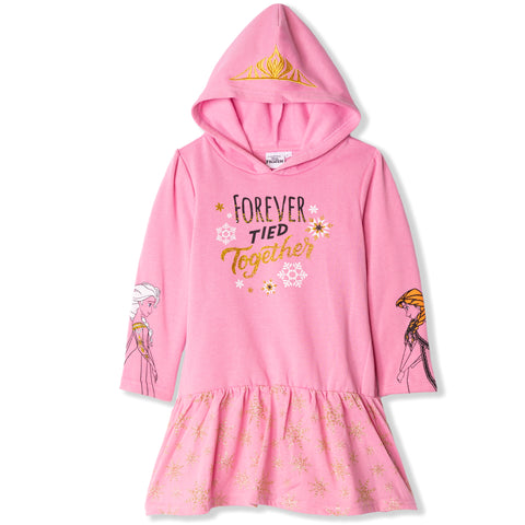 Disney Frozen Warm Hooded Tunic / Dress with Glitter 2-9 Years - Pink