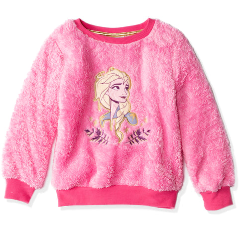 Disney Frozen Girls Sweatshirt, Warm and Cosy Coral Fleece 3-8 years - Fuchsia