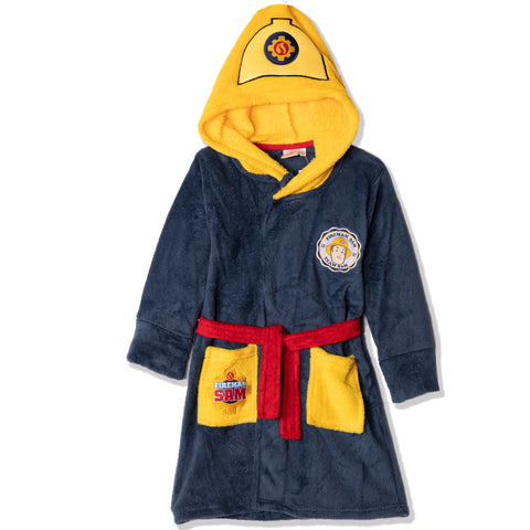Fireman Sam Coral Fleece Hooded Bathrobe / Dressing Gown for boys 2-6 years - Blue