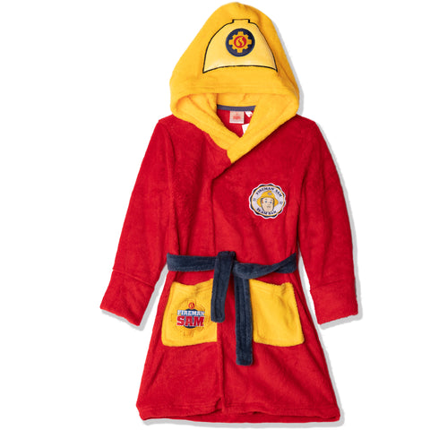 Fireman Sam Coral Fleece Hooded Bathrobe / Dressing Gown for boys 2-6 years - Red