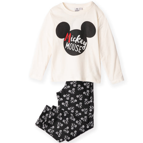 Disney Mickey Mouse Long Sleeve Pyjamas Set for Boys Girls 2-8 Years - White