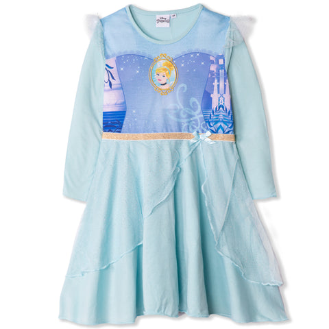 Disney Princess Girls Long Sleeve Nightdress, Nightie 2-6 Years - Cinderella, Blue