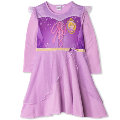 Disney Princess Girls Long Sleeve Nightdress, Nightie 2-6 Years - Rapunzel, Purple