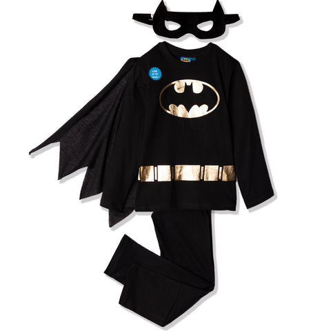 Batman, Long Sleeve Cotton Pyjamas Set with CAPE and Mask 2-8 Years