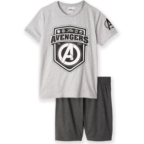 The Avengers - Marvel Men's Pyjamas, T-Shirt and Shorts Set S - XL - Grey