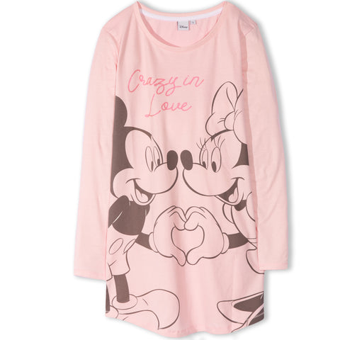 Disney Minnie Mickey Mouse Women's Long Sleeve Nightdress S, M, L, XL - Pink