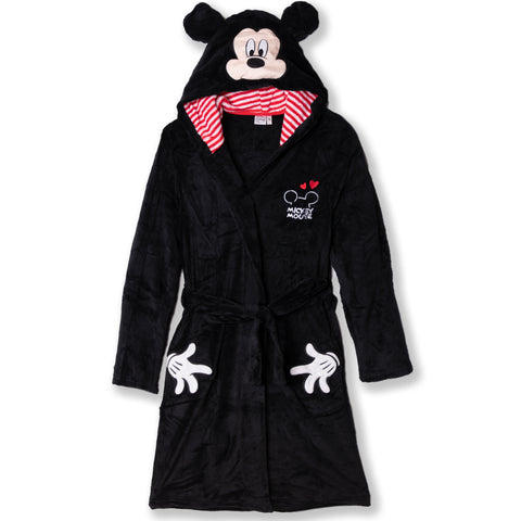 Disney Mickey Mouse Women's Bathrobe / Dressing Gown  - Black
